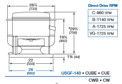 CUE-161 / CW-161 Series Direct Drive Greenheck Exhaust Fan