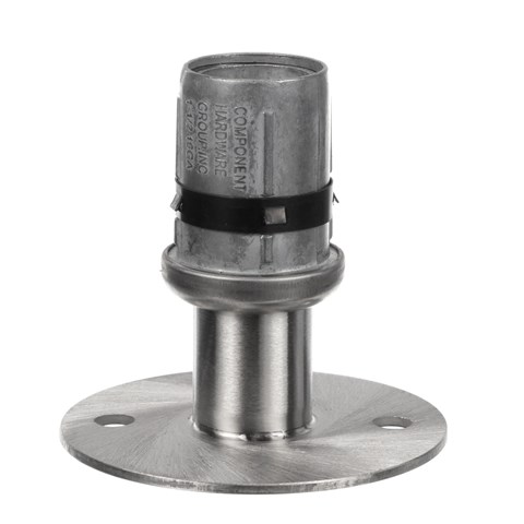 """1-1/2"""" Round Stainless Steel Clad Zinc Die Cast Adjustable Flanged Foot Insert With Mounting Holes"""