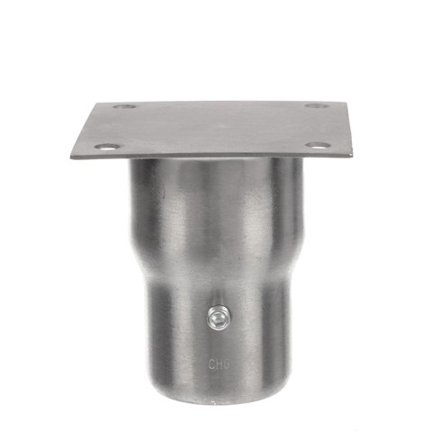 """1-5/8"""" x 3-9/16"""" H Stainless Steel Leg Socket With FlangedTop, Flared Body And 3-1/2"""" x 3-1/2"""" Welded Mounting Plate"""
