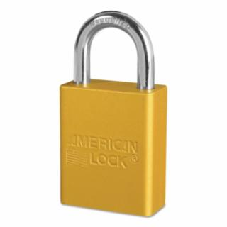 045-A1105YLW Solid Aluminum Padlocks, 1/4 in Diam., 1 in L X 3/4 in W, Yellow