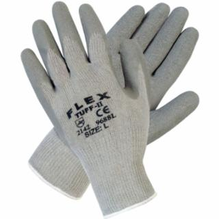 127-9688L Flex Tuff-II Latex Coated Gloves, Large, Gray