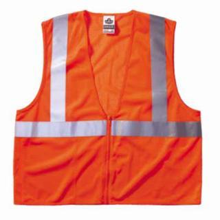 150-21045 GloWr 8210Z Class 2 Economy Ves with Pocket, Zipper Closure, L/XL, Orange