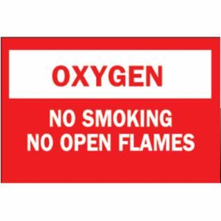 262-25138 Chemil & Hazardous Material Signs, Oxygen/No Smkg/No Open Flames, Plc,Rd/Wt