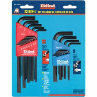 269-10022 Hex-L Key Set, 22 per rd, Hex Tip, Inch/Metric, Short and Long Arms