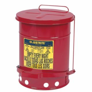 400-09500 Red Oily Wae ns, Foot Operated Cover, 14 gal, Red