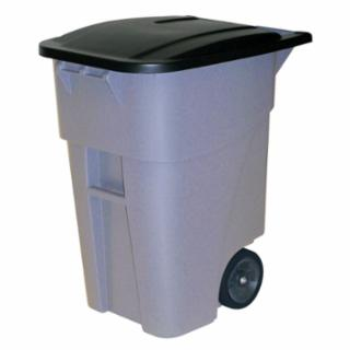 640-9W21-GRAY Brute Roll Out Containers, 65 gal, Gray