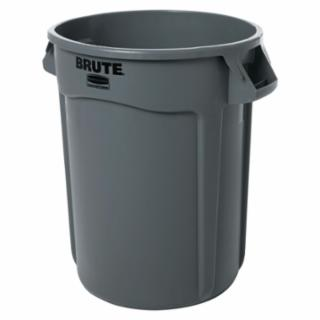 794-263200GY Round Brute Container, Plaic, 32 gal, Gray