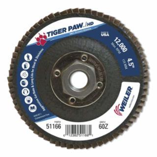 """804-51166 Tiger Pawâ""""¢ Super High Density Flap Disc, 4-1/2 in, 60 Grit, 5/8 Arbor, 12,000 RPM"""
