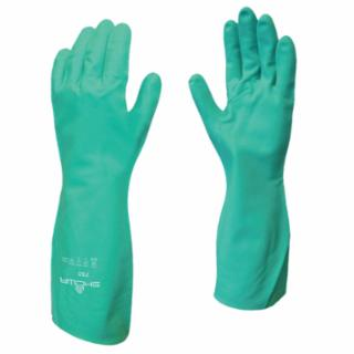 845-730-09 Flock-Lined Nitrile Disposable Gloves, Gauntlet Cuff, Size 9/Large, Green